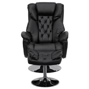 Flash Furniture Transitional Leather Recliner and Ottoman With Chrome Base, Black