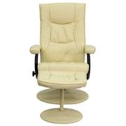 Flash Furniture – Fauteuil inclinable contemporain en cuir et pouf à base recouverte en cuir, crème