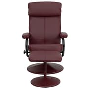 Flash Furniture Contemporary Leather Recliner and Ottoman With Pillowtop Headrest, Burgundy