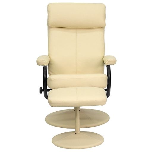 Wondrous Flash Furniture Contemporary Leather Recliner And Ottoman With Pillowtop Headrest Cream Dailytribune Chair Design For Home Dailytribuneorg