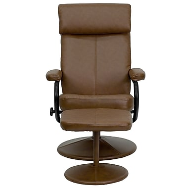 Flash Furniture Contemporary Leather Recliner and Ottoman With Pillowtop Headrest, Palimino