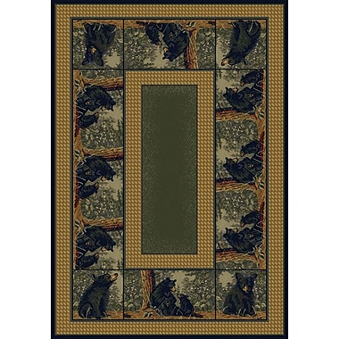 Hautman Brothers Rugs Hautman Bear Family Blue/Gold Area Rug; 1'10'' x 3'