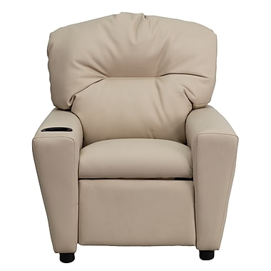 Flash Furniture Contemporary Vinyl Kids Recliner W/Cup Holder, Beige