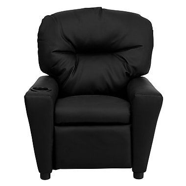 Flash Furniture Contemporary Leather Kids Recliner W/Cup Holder, Black