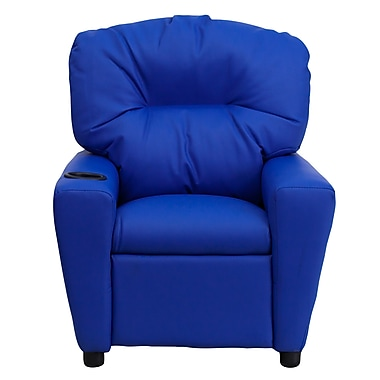 Flash Furniture Contemporary Vinyl Kids Recliner W/Cup Holder, Blue