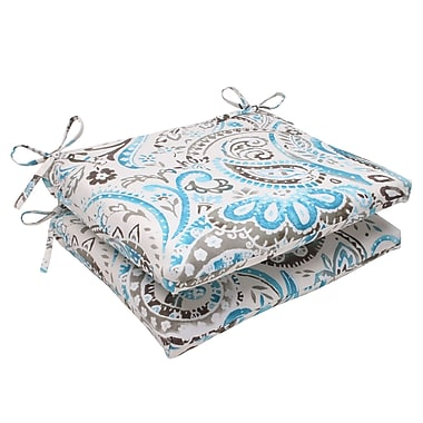 Pillow Perfect Paisley Outdoor Seat Cushion (Set of 2); Gray / Turquoise