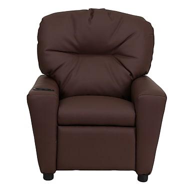 Flash Furniture – Fauteuil inclinable en cuir contemporain pour enfants avec porte-gobelet, brun