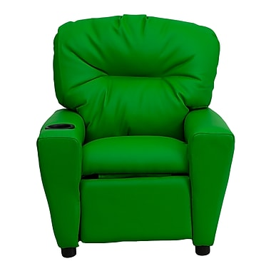 Flash Furniture Contemporary Vinyl Kids Recliner W/Cup Holder, Green