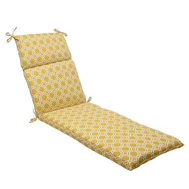 Pillow Perfect Rossmere Outdoor Chaise Lounge Cushion; Yellow / White
