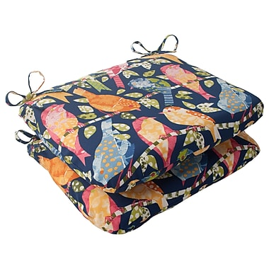 Pillow Perfect Ash Hill Outdoor Seat Cushion (Set of 2); Blue / Green / Orange / Red