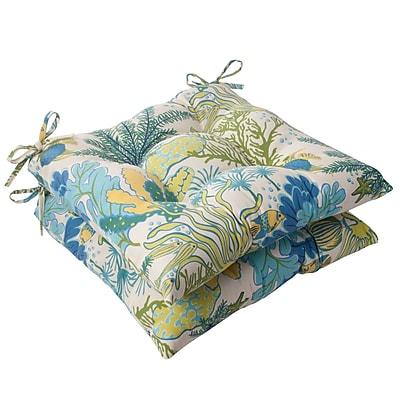 Pillow Perfect Splish Splash Outdoor Seat Cushion (Set of 2); Cream / Green / Blue / Turquoise