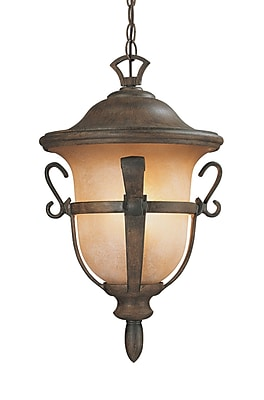 Kalco Tudor 3-Light Outdoor Hanging Lantern; Walnut