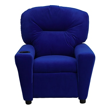 Flash Furniture Contemporary Microfiber Kids Recliner with Cup Holder, Blue