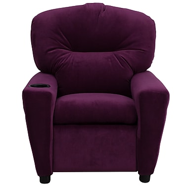 Flash Furniture Contemporary Microfiber Kids Recliner with Cup Holder, Purple