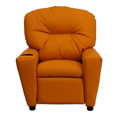 Flash Furniture Contemporary Vinyl Kids Recliner with Cup Holder, Orange