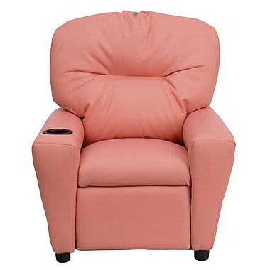 Flash Furniture Contemporary Vinyl Kids Recliner W/Cup Holder, Pink
