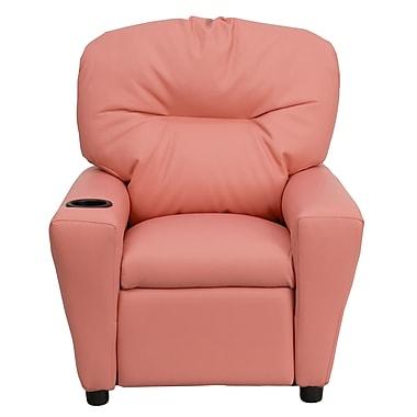 Flash Furniture – Fauteuil inclinable pour enfants en vinyle contemporain avec porte-gobelet, rose