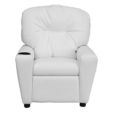Flash Furniture Contemporary Vinyl Kids Recliner with Cup Holder, White