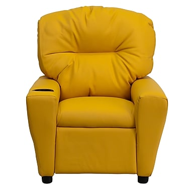 Flash Furniture Contemporary Vinyl Kids Recliner with Cup Holder, Yellow