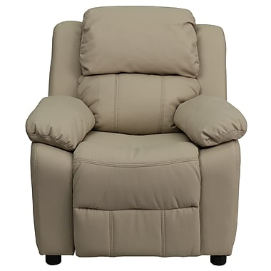 Flash Furniture Deluxe Contemporary Heavily Padded Vinyl Kids Recliner W/Storage Arms, Beige