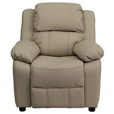 Flash Furniture – Fauteuil en vinyle inclinable pour enfant avec espace de rangement, style contemporain, beige