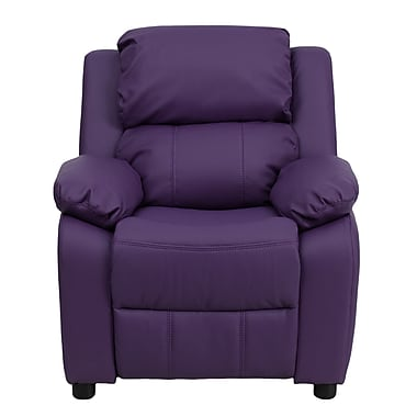 Flash Furniture Deluxe Contemporary Heavily Padded Vinyl Kids Recliner with Storage Arms, Purple