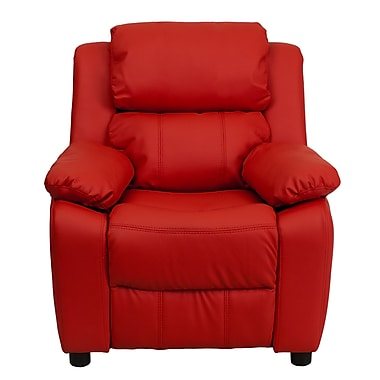 Flash Furniture Deluxe Contemporary Heavily Padded Vinyl Kids Recliner with Storage Arms, Red
