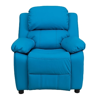Flash Furniture Deluxe Contemporary Heavily Padded Vinyl Kids Recliner with Storage Arms, Turquoise