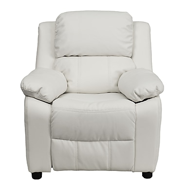 Flash Furniture Deluxe Contemporary Heavily Padded Vinyl Kids Recliner with Storage Arms, White