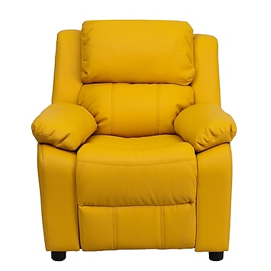 Flash Furniture Deluxe Contemporary Heavily Padded Vinyl Kids Recliner with Storage Arms, Yellow