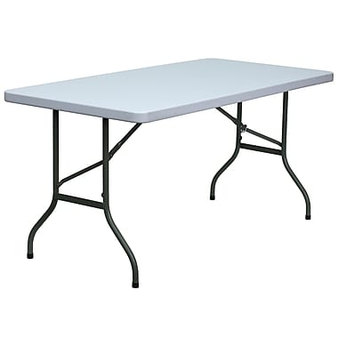 Flash Furniture – Table ronde pliante de 60 x 30 po en plastique, blanc granite