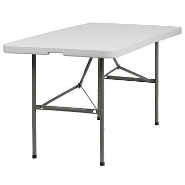 Flash Furniture – Table ronde pliante à deux pans de 60 x 30 po en plastique, blanc granite