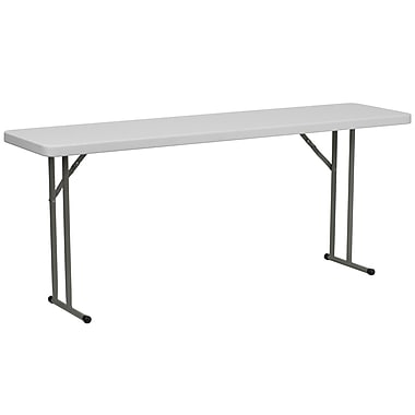 Flash Furniture – Table de formation rectangulaire pliante de 72 x 18 (po), en plastique, blanc granite, 15/paquet