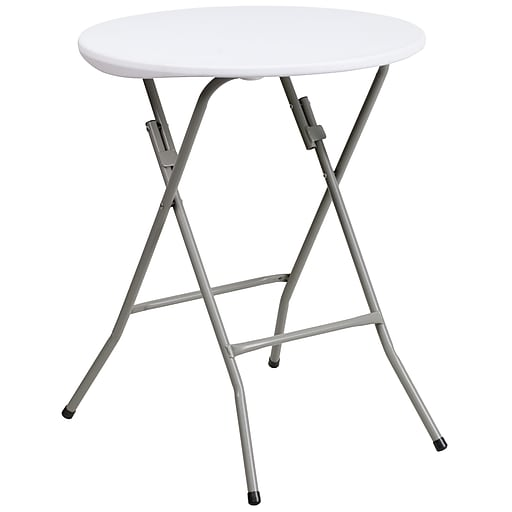 Flash Furniture 24 Plastic Round Folding Table Granite White 6 Pack