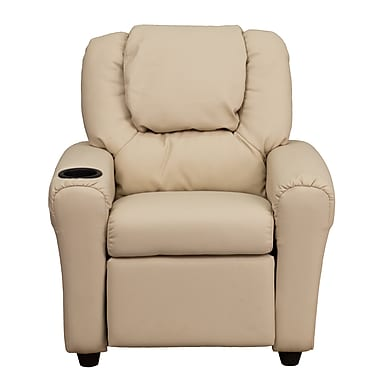 Flash Furniture Contemporary Vinyl Kids Recliner W/Cup Holder and Headrest, Beige