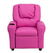 Flash Furniture Contemporary Vinyl Kids Recliner W/Cup Holder and Headrest, Hot Pink