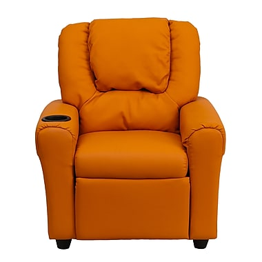 Flash Furniture Contemporary Vinyl Kids Recliner W/Cup Holder and Headrest, Orange