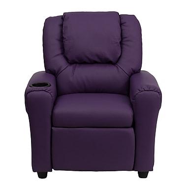 Flash Furniture – Fauteuil inclinable en vinyle contemporain pour enfants avec porte-gobelet et appuie-tête, violet