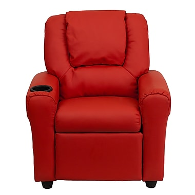 Flash Furniture Contemporary Vinyl Kids Recliner W/Cup Holder and Headrest, Red