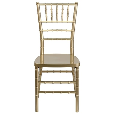 Flash Furniture – Chaise Chiavari empilable Elegance, résine, or