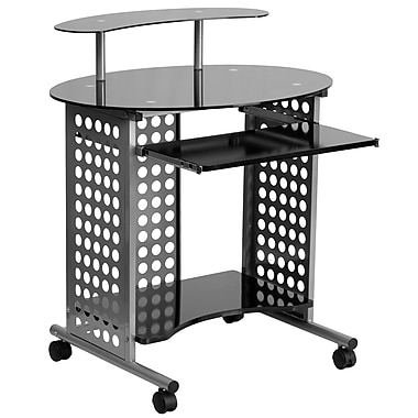 Flash Furniture Cassini Glass Computer Desk with Silver Frame, Black