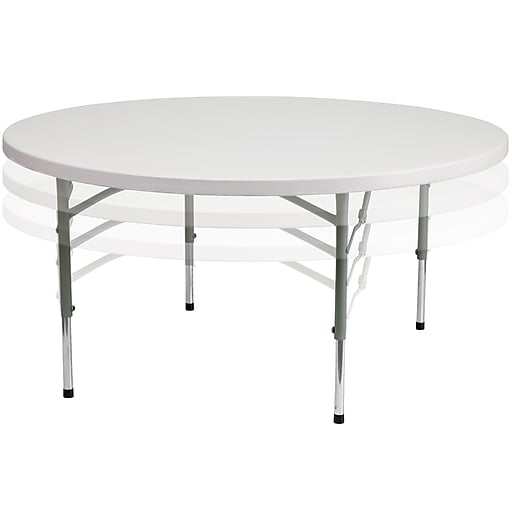 Adjustable Height Round Table.Flash Furniture 60 Plastic Adjustable Height Round Folding Table Granite White