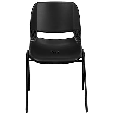 Flash Furniture Hercules Shell Ergonomic Stack Chair With Black Frame and 12