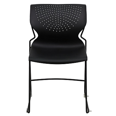 Flash Furniture Hercules Full Back Stack Chair with Black Frame, Black, 4/Pack
