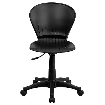 Flash Furniture Plastic Computer and Desk Office Chair, Armless, Black (RUTA103BK)