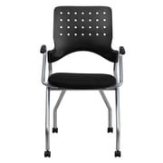 Flash Furniture Fabric Padded Mobile Nesting Chair With Arms, Black, 2/Pack