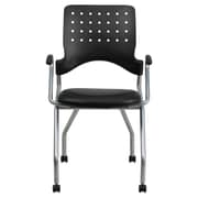Flash Furniture Leather Padded Mobile Nesting Chair With Arms, Black, 2/Pack