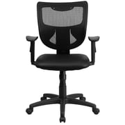 Flash Furniture WL-F061SYG-LEA-A-GG LeatherSoft Mid-Back Task Chair with Adjustable Arms, Black