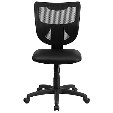 Flash Furniture WL-F061SYG-LEA-GG LeatherSoft Mid-Back Armless Task Chair, Black
