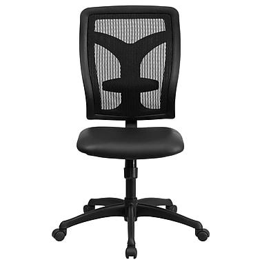 Flash Furniture WL-F062SYG-LEA-GG LeatherSoft High-Back Armless Task Chair, Black